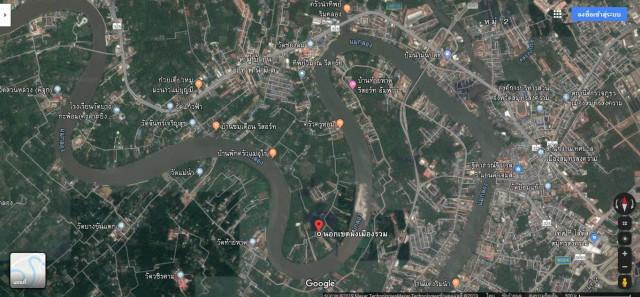 ขายที่ดินพร้อมบ้านทรงไทยติดแม่น้ำแม่กลอง สมุทรสงคราม เนื้อที่5.5ไร่ขาย 50 ล้าน
