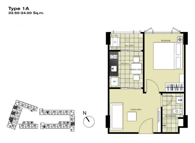 ขายห้องชุดใน The Base Downtown Condoเนื้อที่ 34.09 ตร.ม ชั้นที่.3 ขาย 2.8 ล้าน