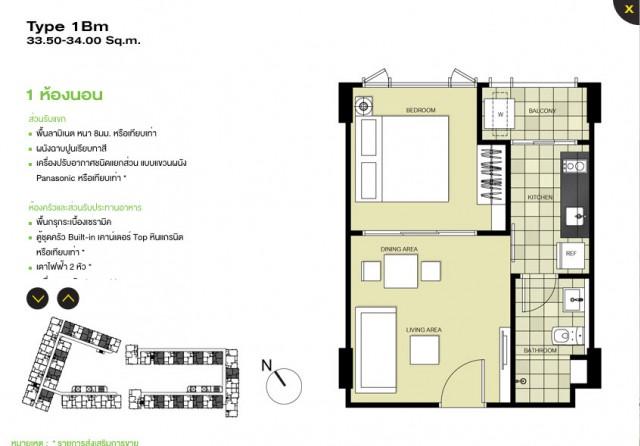 ขายห้องชุดในThe Base Downtown เมือง เนื้อที่ 34 ตร.มชั้นที่.5 ขาย 2.95 ล้าน